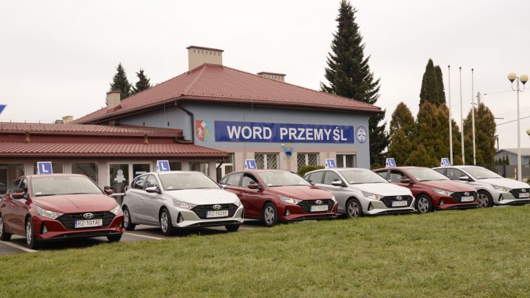 Budynek Word i samochody egzaminacyjne
